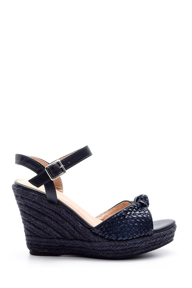 Lacivert Kadın Dolgu Topuklu Sandalet 5638015861