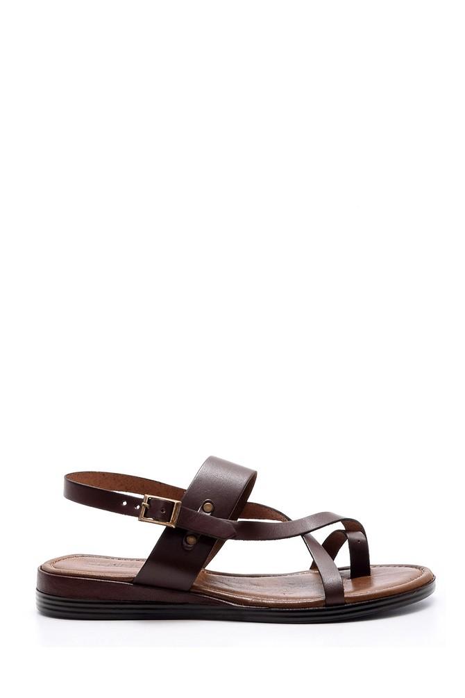 Kahverengi Kadın Deri Sandalet 5638052951