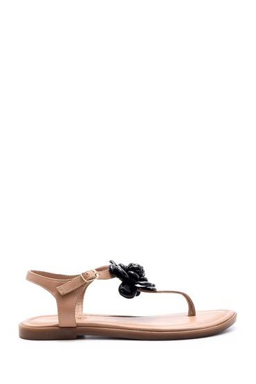 5638049296 Kadın Çiçek Detaylı Sandalet