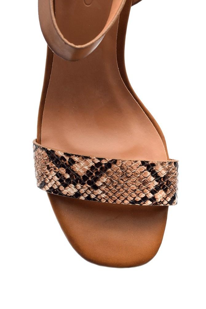 5638021272 Kadın Kroko Desenli Topuklu Ayakkabı