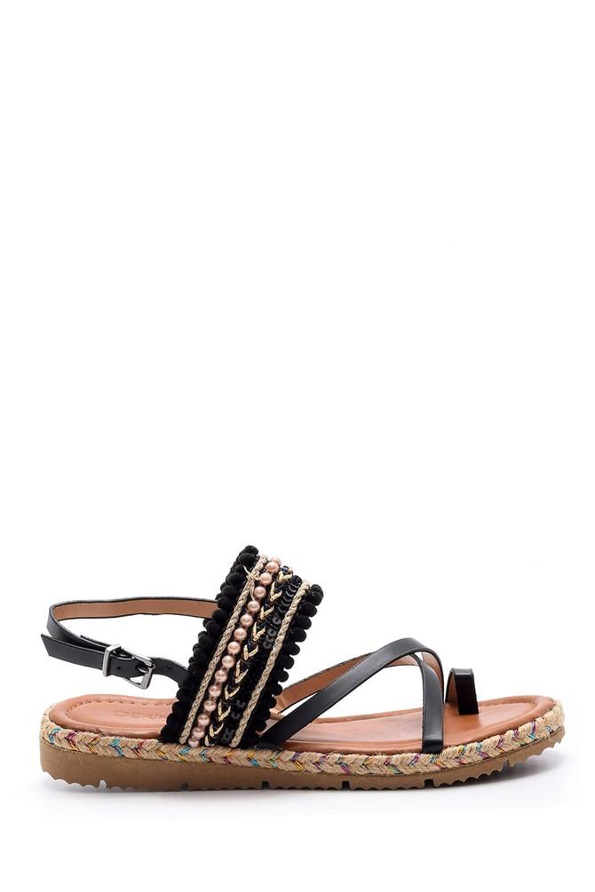 Siyah Kadın İşlemeli Sandalet 5638002458