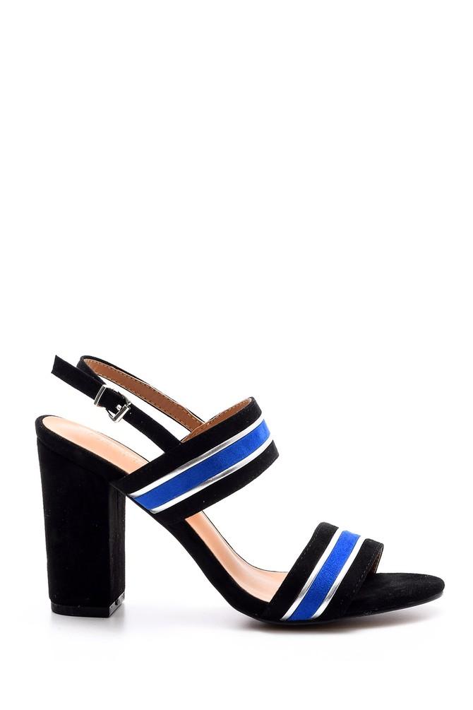 Siyah Kadın Şeritli Topuklu Ayakkabı 5638021372
