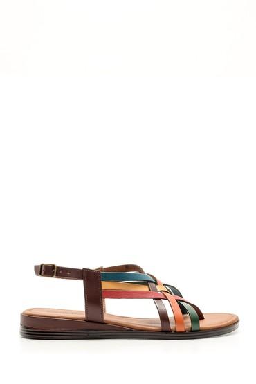 5638052873 Kadın Renkli Deri Sandalet