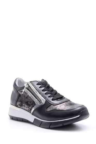 Siyah Kadın Fermuar Detaylı Sneaker 5638095629
