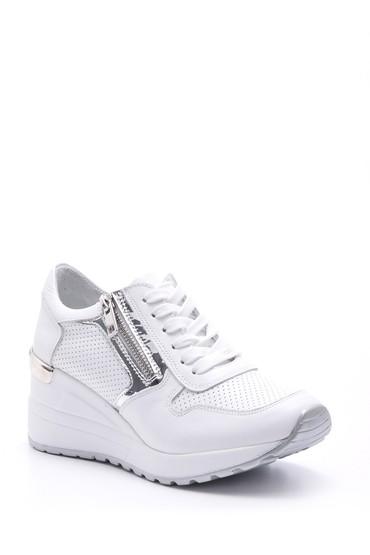 Beyaz Kadın Fermuar Detaylı Sneaker 5638095652