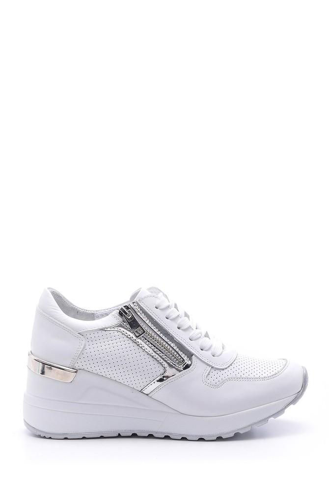 Beyaz Kadın Fermuar Detaylı Sneaker 5638095644