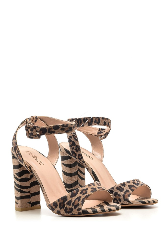 5638042670 Kadın Leopar Desenli Topuklu Ayakkabı