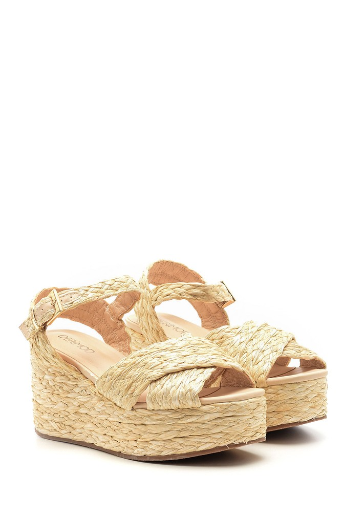 5638027412 Kadın Dolgu Topuklu Hasır Sandalet