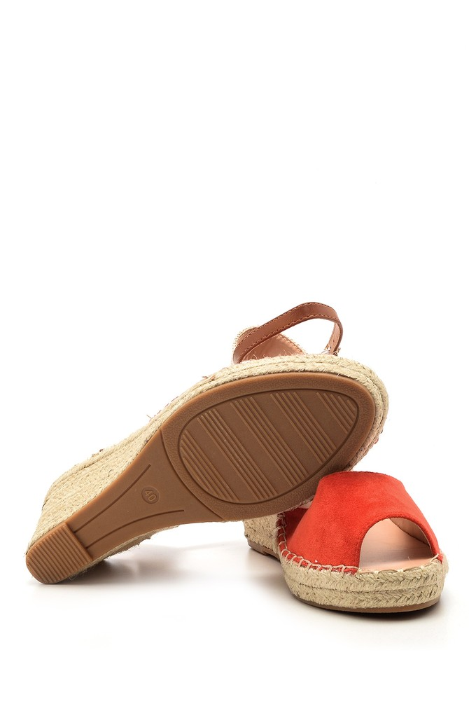 5638019966 Kadın Süet Dolgu Topuklu Espadril Ayakkabı