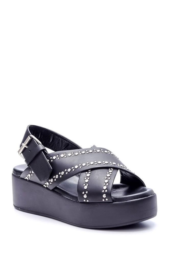 5638060909 Kadın Zımba Detaylı Dolgu Topuklu Sandalet