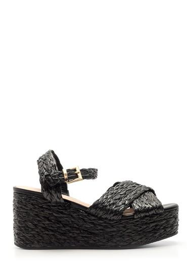 Siyah Kadın Dolgu Topuklu Hasır Sandalet 5638041581
