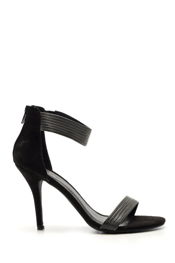 5638019713 Kadın Süet Gümüş Detaylı Topuklu Ayakkabı
