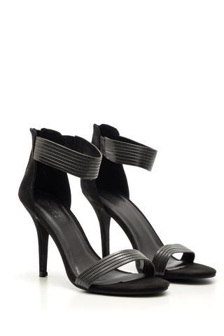 Kadın Süet Gümüş Detaylı Topuklu Ayakkabı