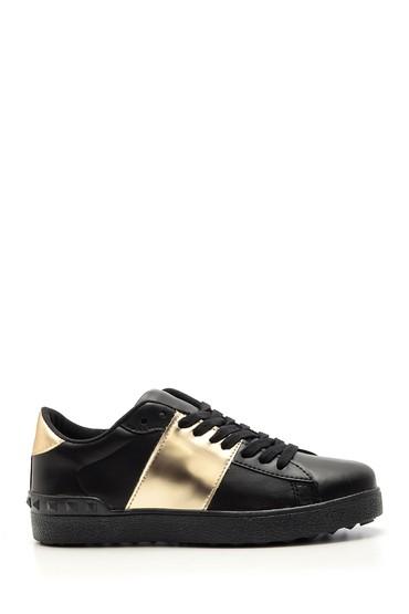 Siyah Kadın Gold Detaylı Sneaker 5638103345
