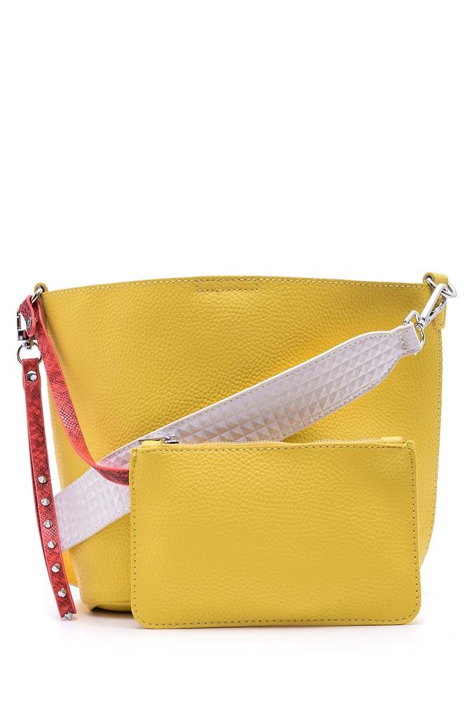 Sarı Kadın Kroko Detaylı Omuz Çantası 5638030808