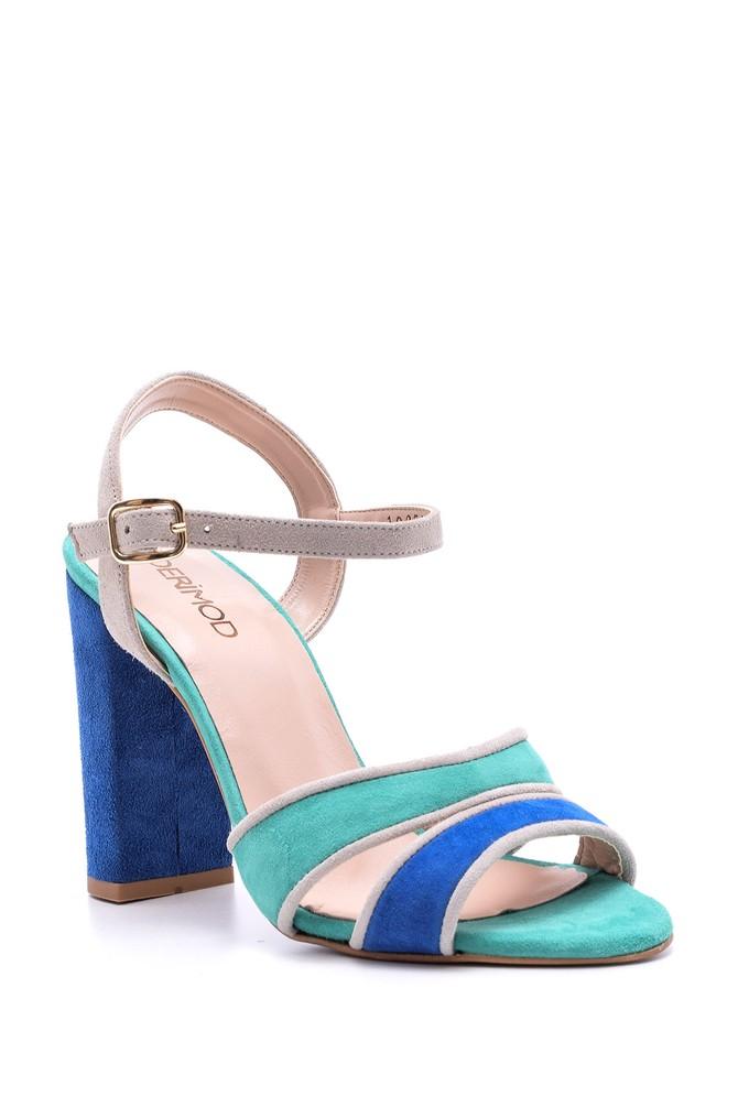 5638050901 Kadın Süet Bantlı Topuklu Ayakkabı