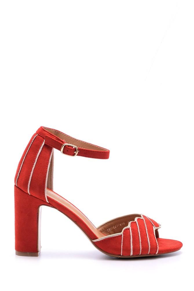 Kırmızı Kadın Süet Bilekten Bağlamalı Topuklu Ayakkabı 5638021402