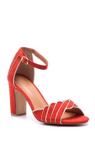 Kadın Süet Bilekten Bağlamalı Topuklu Ayakkabı
