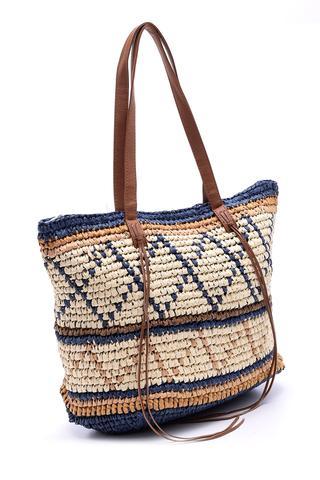 Kadın Desenli Hasır Çanta