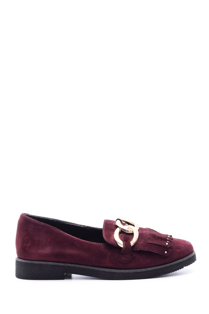 5637729578 Taş Detaylı Kadın Deri Ayakkabı