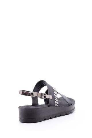 Kadın Gümüş Zebra Detaylı Sandalet