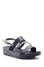 5638044370 Kadın Gümüş Zebra Detaylı Sandalet