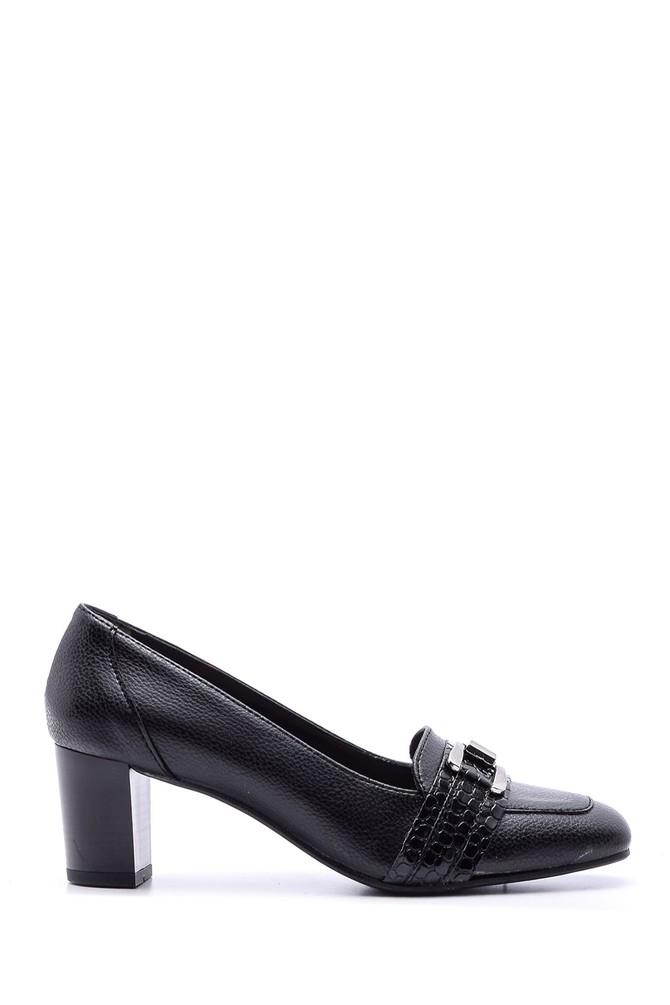Siyah Kadın Kroko Detaylı Deri Topuklu Ayakkabı 5638066132