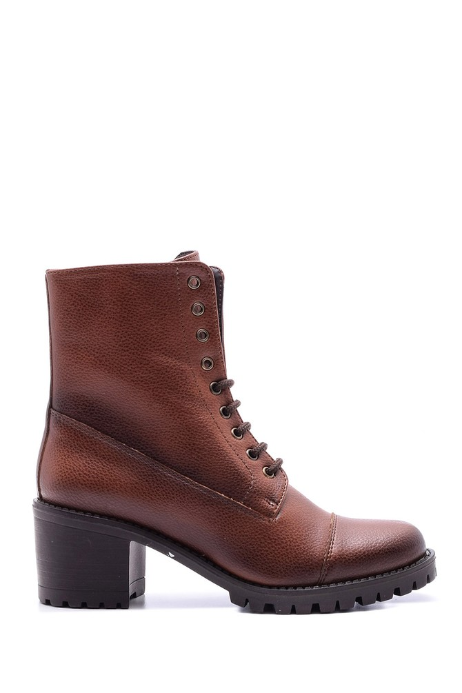Kahverengi Kadın Bağcıklı Topuklu Bot 5638067103