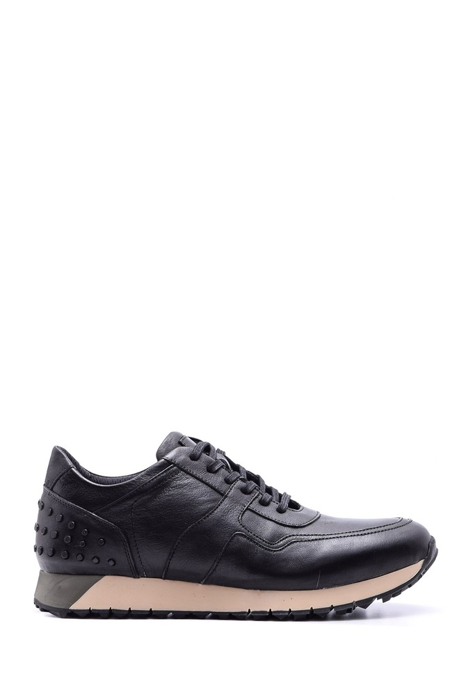 Siyah Erkek Deri Sneaker 5638089048