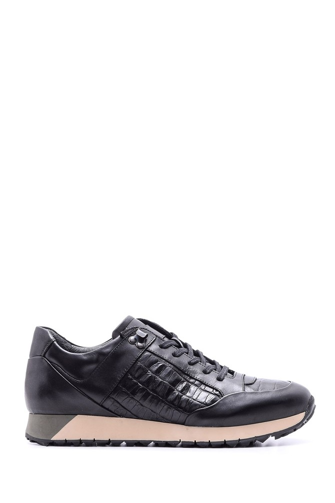 Siyah Erkek Kroko Detaylı Deri Sneaker 5638089829