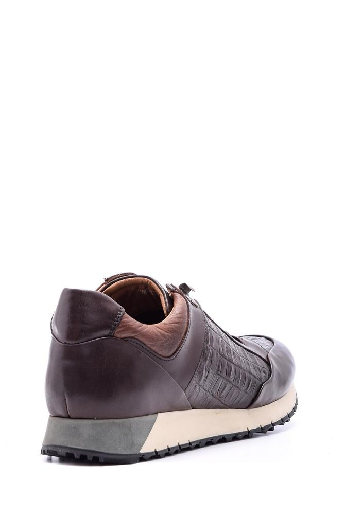 5638089808 Erkek Kroko Detaylı Deri Sneaker