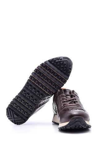 Erkek Kroko Detaylı Deri Sneaker