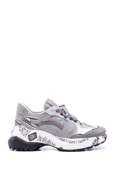 Gri Kadın Yüksek Tabanlı Sneaker 5638096089