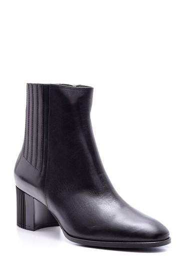 Siyah Kadın Topuklu Deri Bot 5638080390
