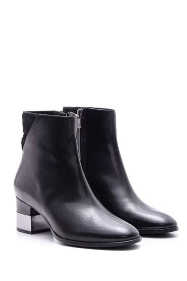 Siyah Kadın Metal Topuklu Deri Bot 5638080398