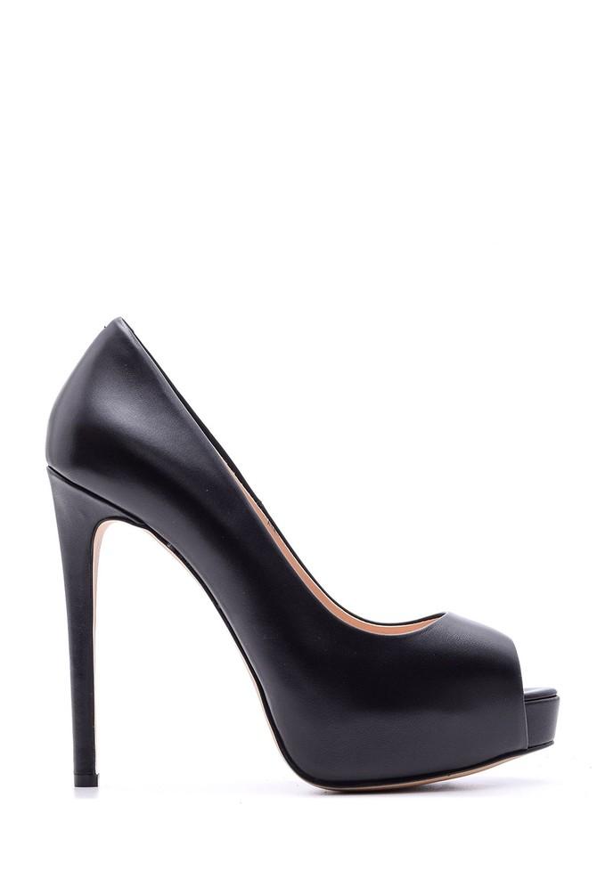 5638080432 Kadın Platform Topuklu Deri Ayakkabı