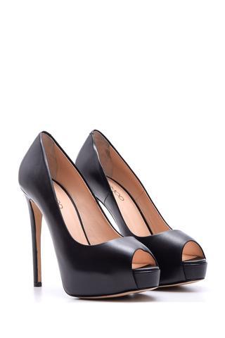 Kadın Platform Topuklu Deri Ayakkabı