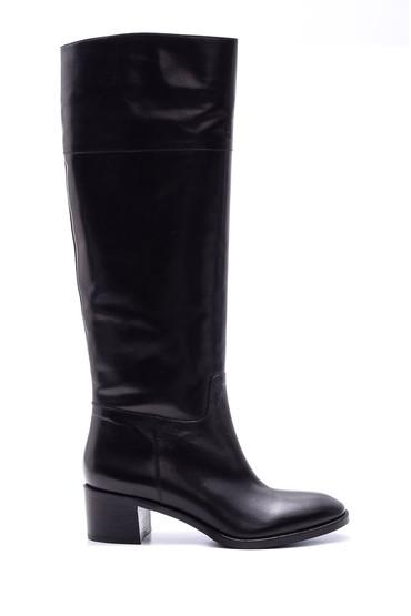 Siyah Kadın Topuklu Deri Çizme 5638080478