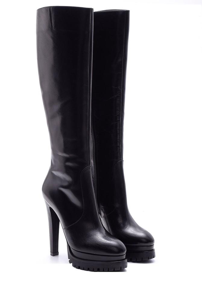5638080496 Kadın Topuklu Deri Çizme