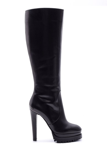 Siyah Kadın Topuklu Deri Çizme 5638080490