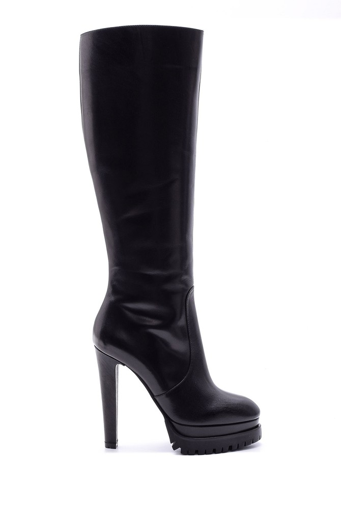 Siyah Kadın Topuklu Deri Çizme 5638080496