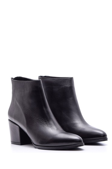 Siyah Kadın Topuklu Deri Bot 5638084206