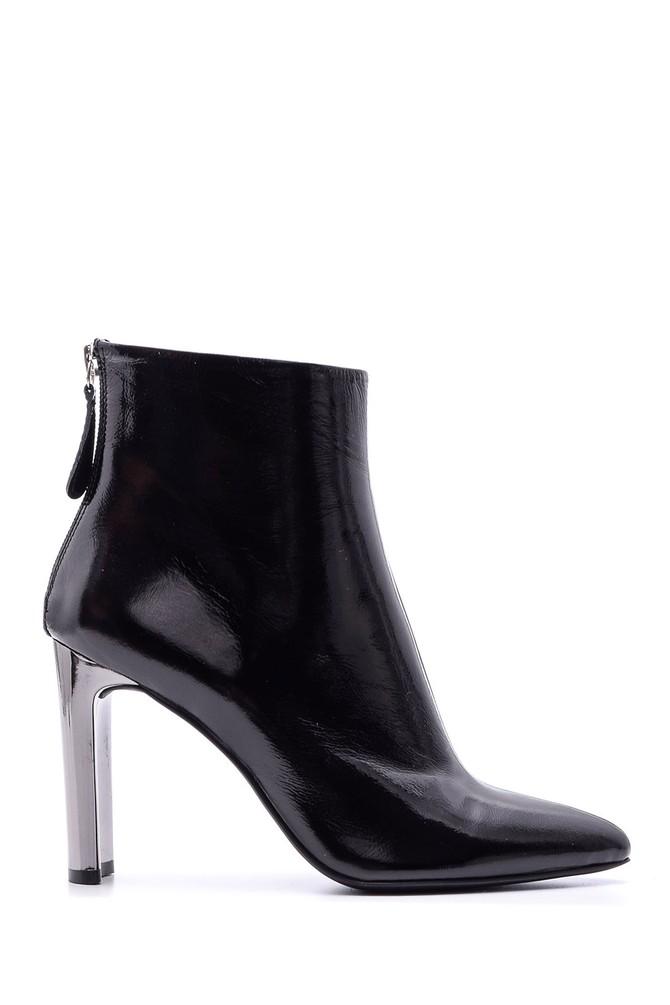 Siyah Kadın Metal Topuklu Deri Bot 5638084231