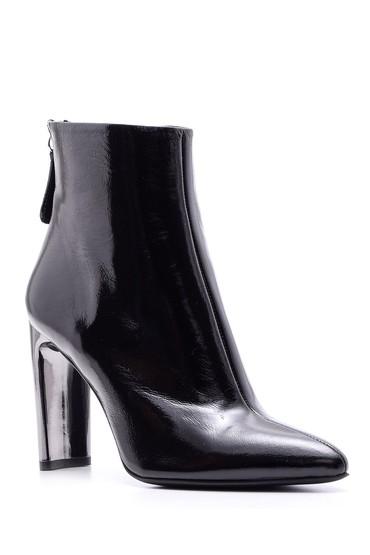 Siyah Kadın Metal Topuklu Deri Bot 5638084221
