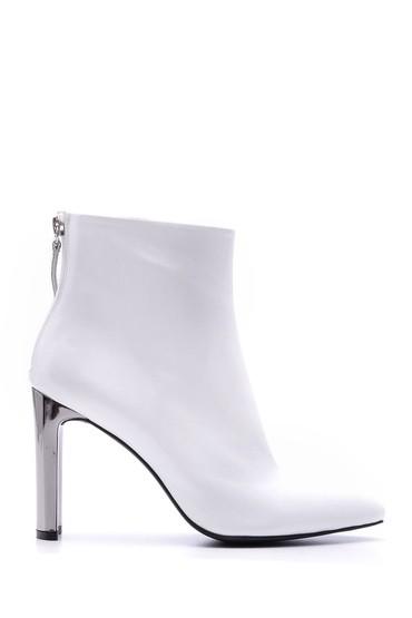 Beyaz Kadın Metal Topuklu Deri Bot 5638084219