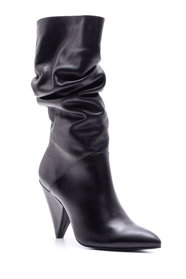 Siyah Kadın Topuklu Deri Çizme 5638085315