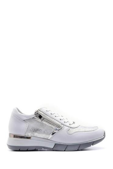 Beyaz Kadın Fermuar Detaylı Sneaker 5638101680