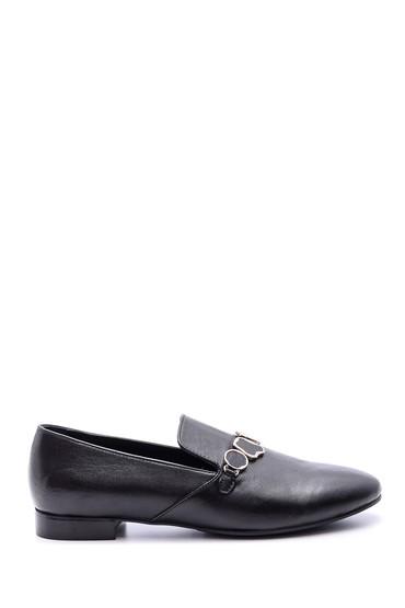 Siyah Kadın Taş Detaylı Loafer 5638065805