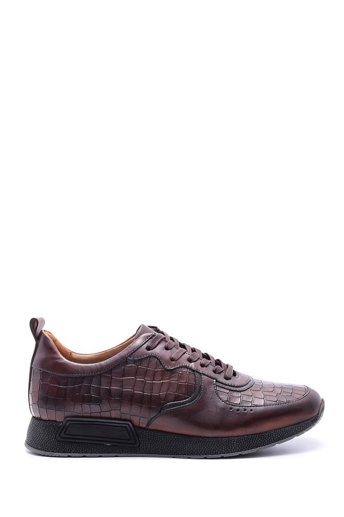 Kahverengi Erkek Kroko Desenli Sneaker 5638089736