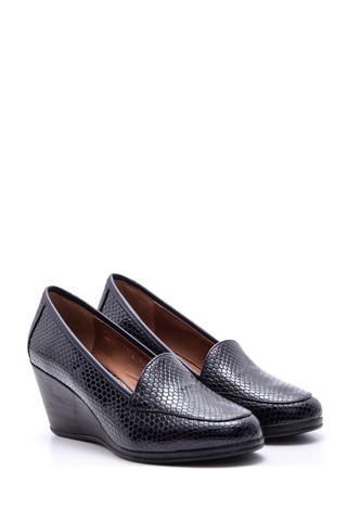 Kadın Yılan Derisi Desenli Dolgu Topuklu Ayakkabı